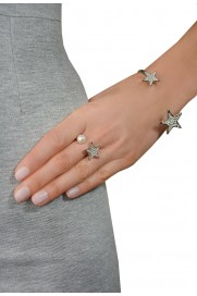 Ring mit Stern & Perle silber