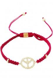 Makramee Armband 'Peace' Himbeer