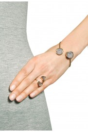 Ring vergoldet mit Achaten anthrazit