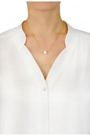 Leaf Halskette mit Perle rosé verglodet
