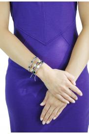 Makramee Armband lila/weiße Steine