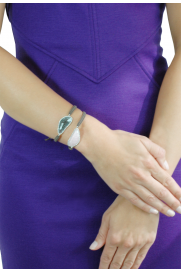 Makramee Armband mit Bergkristall taupe/charcoal