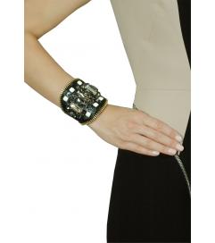 Armband 'Joy' schwarz mit beigen Steinen