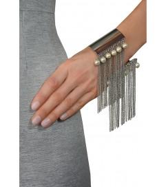 Armreif mit Perlen silber