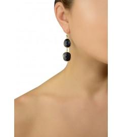Ohrhänger mit schwarzen Achaten vergoldet