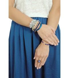 Makramee Armband 'Peace' cobalt blau