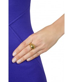 Cocktail Ring 'Damier' vergoldet