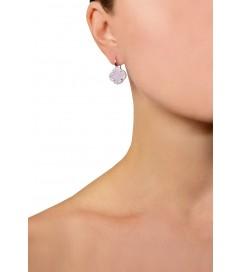 Ohrring 'Kleeblatt klein' rosa silber