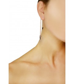 Amorium Ear Cuff 'Black Spikes' rosé vergoldet