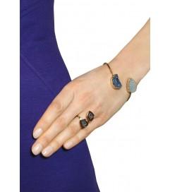 Ring vergoldet mit Achaten blau-grau