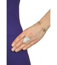 Ring vergoldet mit Quarz weiß