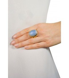 Kenneth Jay Lane Ring 'Blue Opal' vergoldet