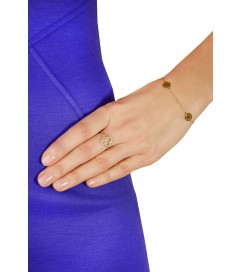 Leaf Ring 'Kleeblatt' Zirkonia vergoldet