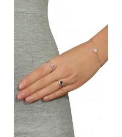 Leaf Ring 'Kreuz' Zirkonia silber