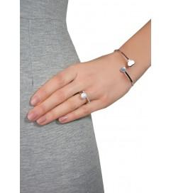 Ring mit Zirkonia und Perle Silber