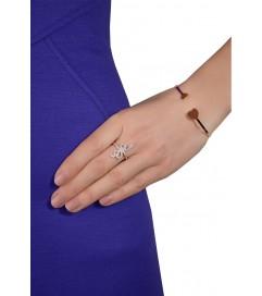 Ring 'Schlange' mit Zirkonia rosé vergoldet