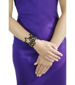 Glamour Armband mit Sternen schwarz