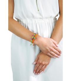 Makramee Armband orange/ grüner Stein