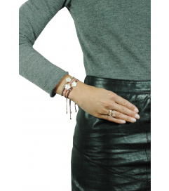 Makramee Armband 'Perlmutt' grau