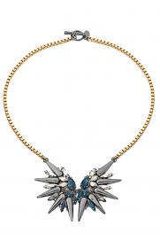 Halskette 'Double Spike Crystal' gold-blau