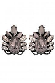 Anton Heunis Ohrring 'Leaf Motif Crystal' glossy black