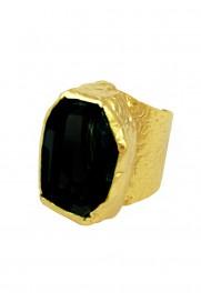 Ring vergoldet mit Onyx