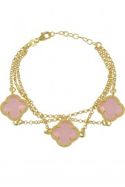Armband 'Kleeblatt Triple' rosa vergoldet