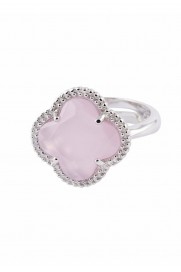 Ring 'Kleeblatt Simple' rosa Silber