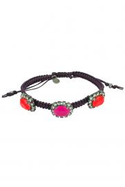 Makramee Armband lila/pink-koralle Steine