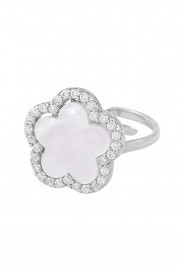 Ring 'Perlmutt Blume' Silber