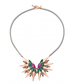 Halskette 'Crystal Butterfly Spike' rosé vergoldet