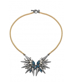 Halskette 'Double Spike Crystal' gold-blau