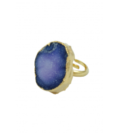 Ring vergoldet mit Quarz lila/blau