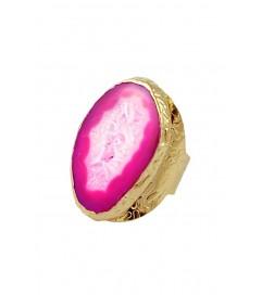 Ring vergoldet mit Achat fuchsia
