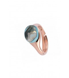 Ring 'Drop Stone' aquamarin rosé vergoldet