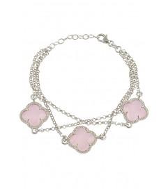 Armband 'Kleeblatt Triple' rosa silber