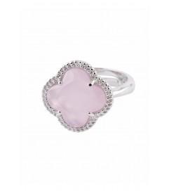 Ring 'Kleeblatt Simple' rosa Silber