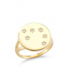 Ring 'Plättchen mit Sternen' vergoldet