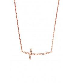 Leaf Halskette 'Kreuz' rosé vergoldet