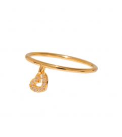Leaf Ring mit Anhänger 'Herz' vergoldet