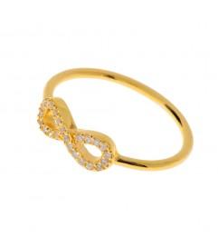 Leaf Ring 'Infinity' mit Zirkonia vergoldet