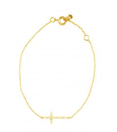 Armband mit Zirkonia Kreuz vergoldet