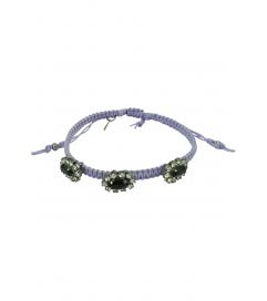 Makramee Armband flieder/schwarze Steine